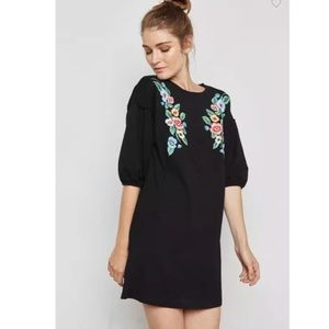 Mango MNG Embroidered Floral Dress Black Loose Fit